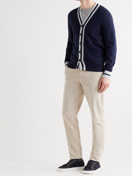 BRUNELLO CUCINELLI Striped Cotton Cardigan