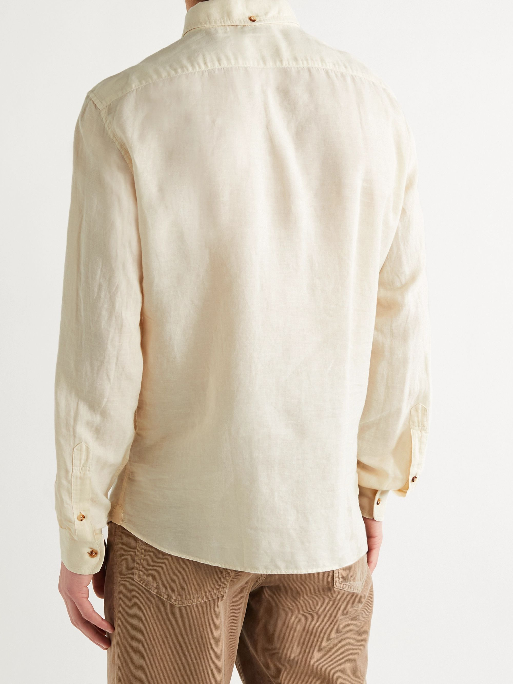 BRUNELLO CUCINELLI Button-Down Collar Linen and Cotton-Blend Half-Placket Shirt