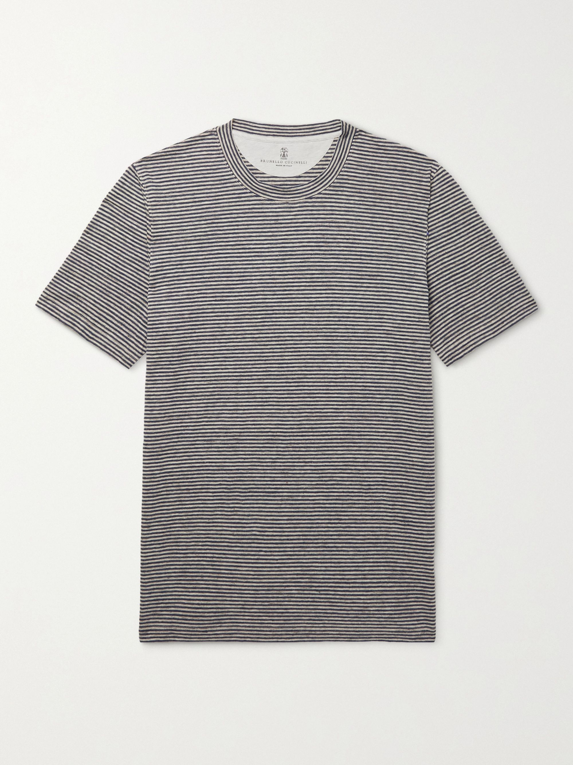 BRUNELLO CUCINELLI Striped Stretch-Linen T-Shirt