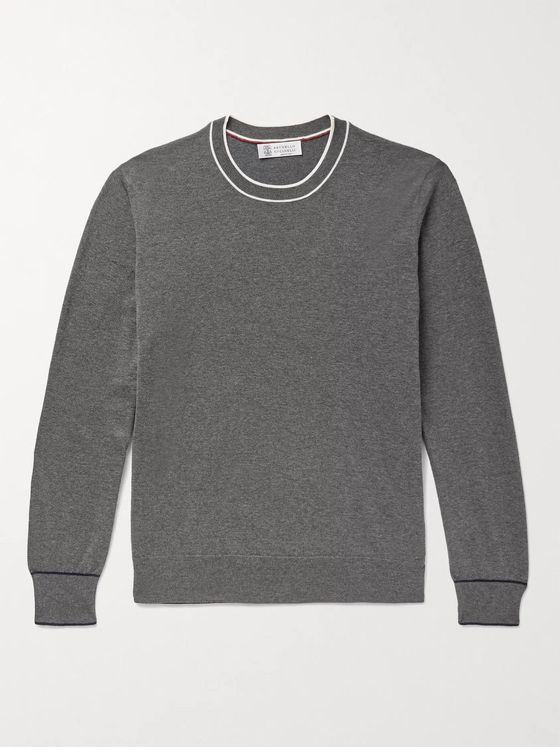 BRUNELLO CUCINELLI Contrast-Tipped Mélange Cotton Sweater