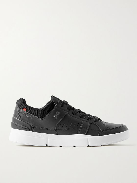 ON The Roger Clubhouse Faux Leather and Mesh Tennis Sneakers