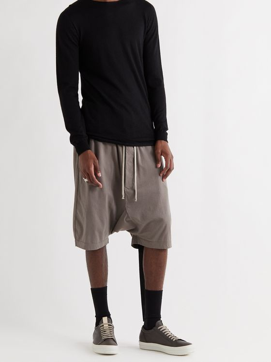 DRKSHDW BY RICK OWENS Pods Cotton-Jersey Drawstring Shorts