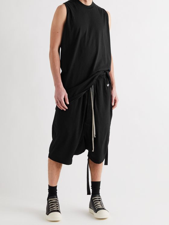 DRKSHDW BY RICK OWENS Pods Organic Cotton-Jersey Drawstring Shorts