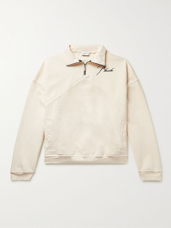 RHUDE Logo-Embroidered Loopback Cotton-Jersey Half-Zip Sweatshirt