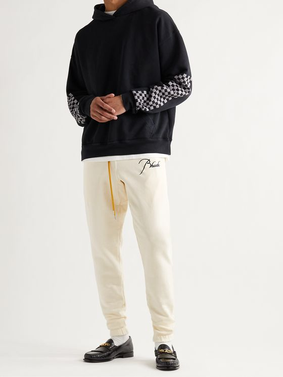 RHUDE Logo-Embroidered Loopback Cotton-Jersey Sweatpants