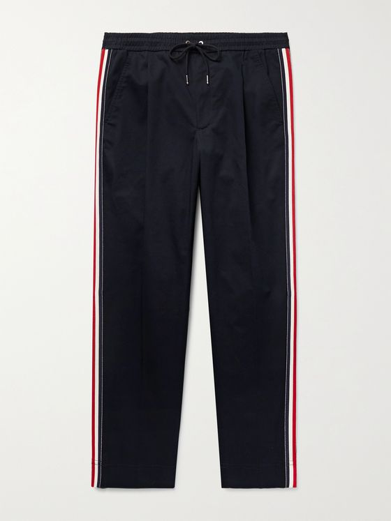 MONCLER Tapered Grosgrain-Trimmed Stretch-Cotton Twill Trousers
