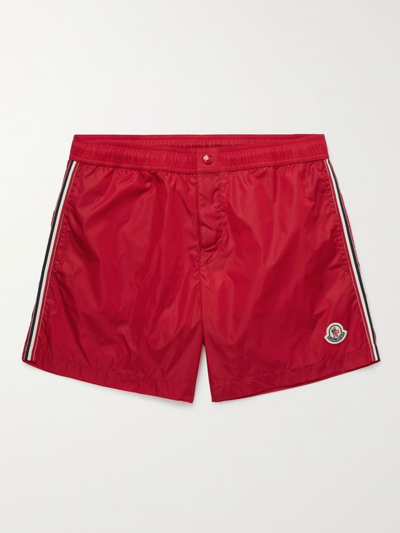MONCLER Mid-Length Logo-Appliquéd Striped Swim Shorts