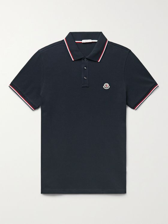 MONCLER Slim-Fit Contrast-Tipped Logo-Appliquéd Cotton-Piqué Polo Shirt