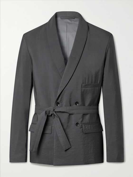 LEMAIRE Shawl-Collar Belted Double-Breasted Virgin Wool-Blend Suit Jacket