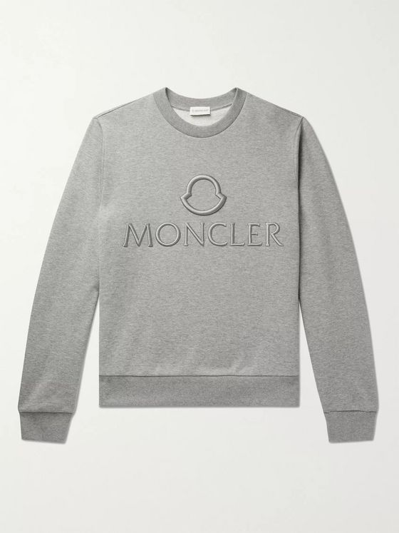 MONCLER Logo-Embroidered Mélange Loopback Cotton-Jersey Sweatshirt