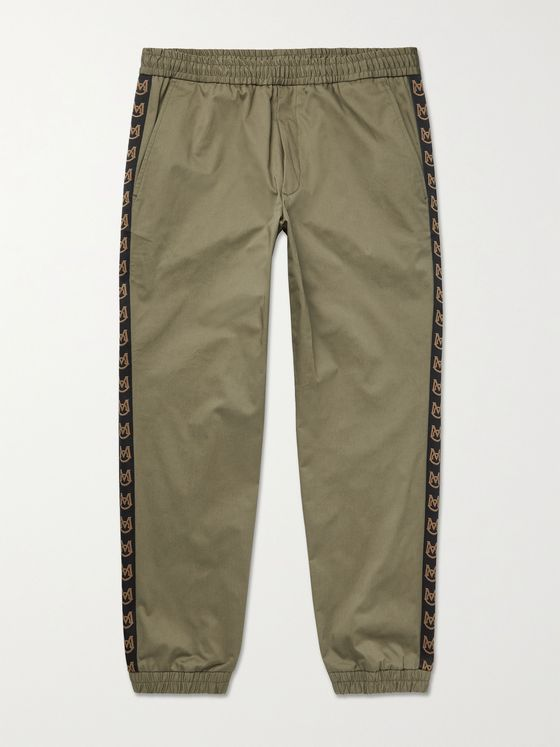 MONCLER Logo-Detailed Cotton-Blend Twill Trousers