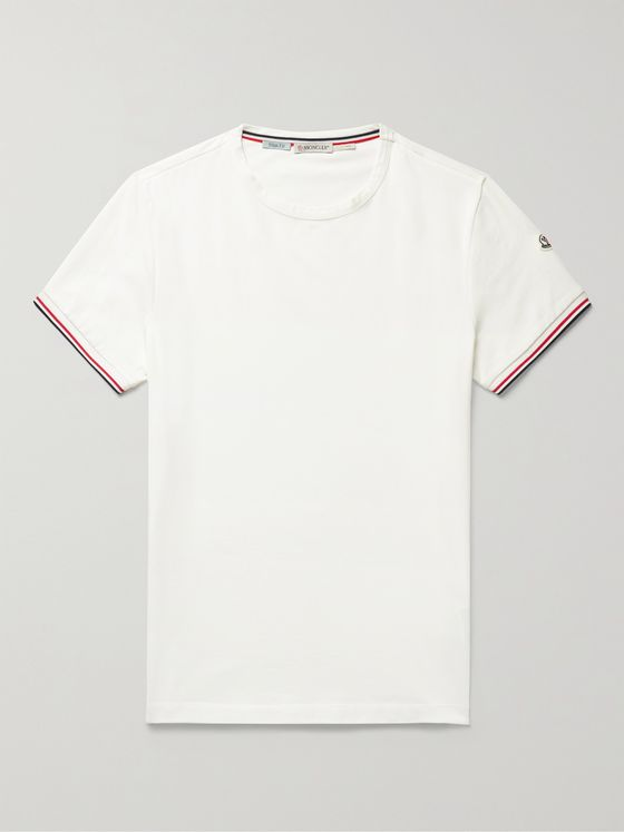MONCLER Contrast-Tipped Stretch-Cotton Jersey T-Shirt