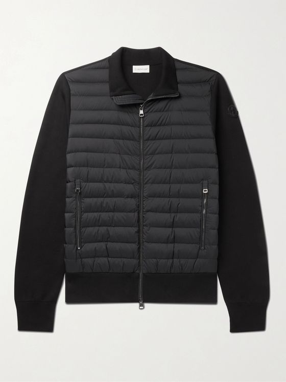 MONCLER Slim-Fit Panelled Cotton-Blend and Quilted Shell Down Zip-Up Cardigan