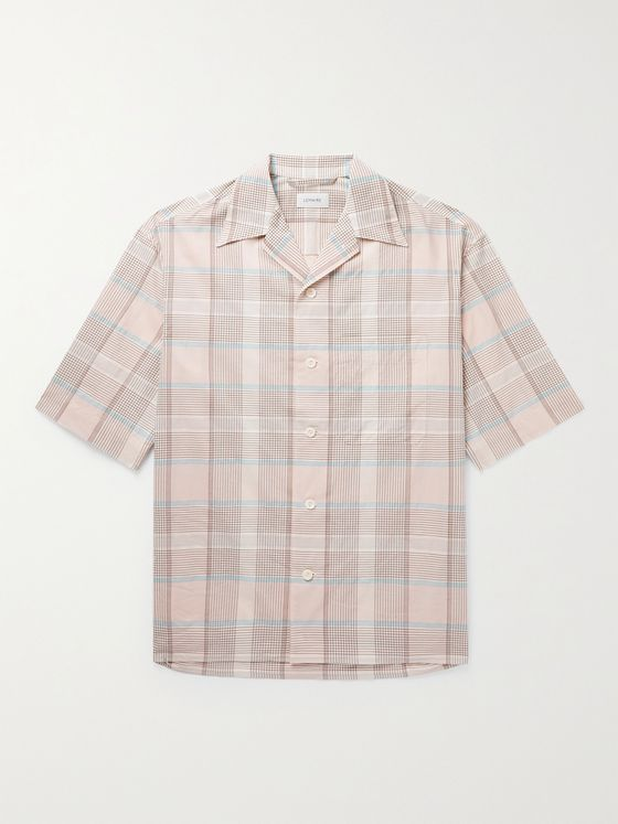 LEMAIRE Camp-Collar Checked Cotton Shirt