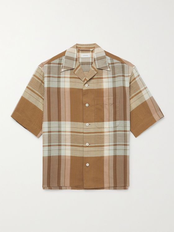 LEMAIRE Camp-Collar Checked Cotton and Linen-Blend Shirt