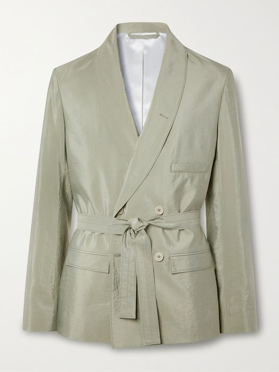 LEMAIRE Shawl-Collar Belted Double-Breasted Silk-Blend Blazer