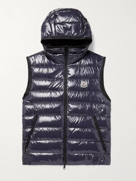 MONCLER Lappe Quilted Glossed-Ripstop Down Hooded Gilet