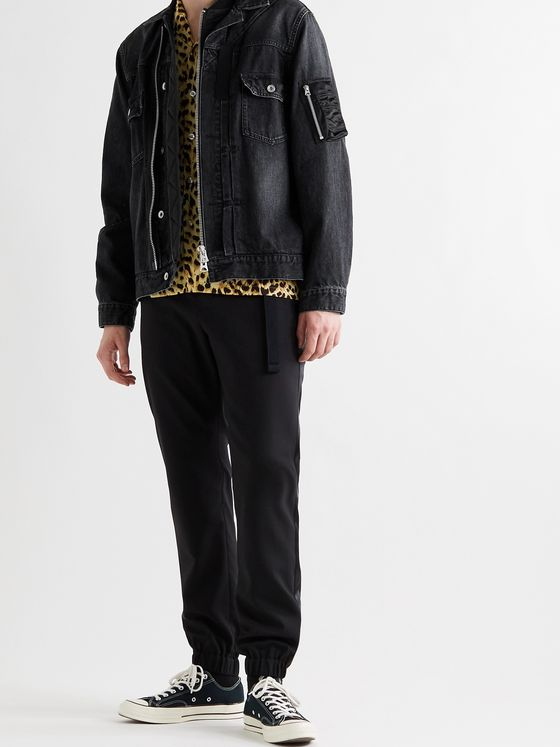 SACAI Shell-Trimmed Denim Blouson Jacket