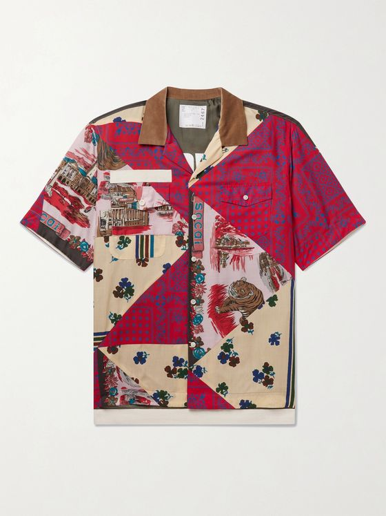 SACAI + Hank Willis Thomas Camp-Collar Velvet-Trimmed Patchwork Woven Shirt