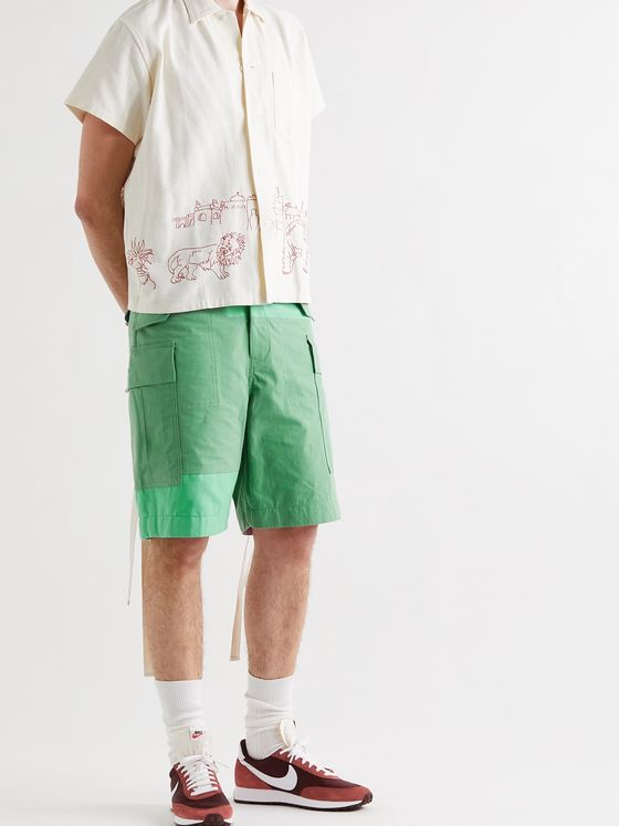 SACAI Belted Panelled Cotton-Blend Oxford and Shell Cargo Shorts