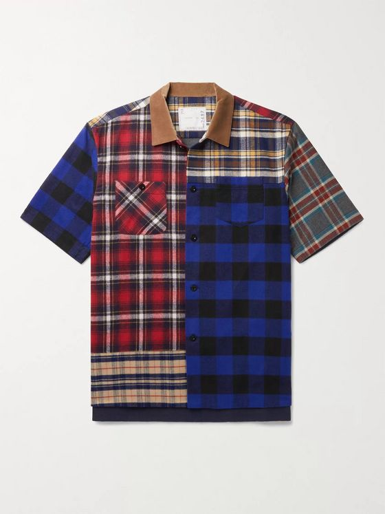 SACAI Velvet-Trimmed Patchwork Checked Cotton-Flannel Shirt
