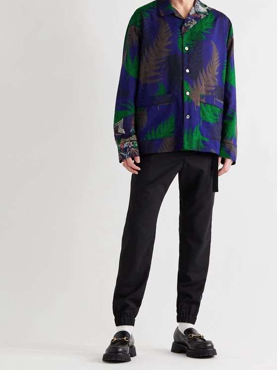 SACAI Camp-Collar Patchwork Printed Voile Shirt