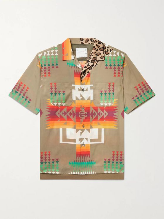 SACAI + Hank Willis Thomas Camp-Collar Printed Woven Shirt