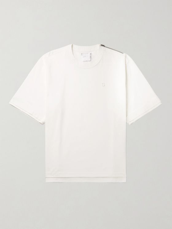 SACAI Zip-Detailed Logo-Embroidered Cotton-Piqué T-Shirt