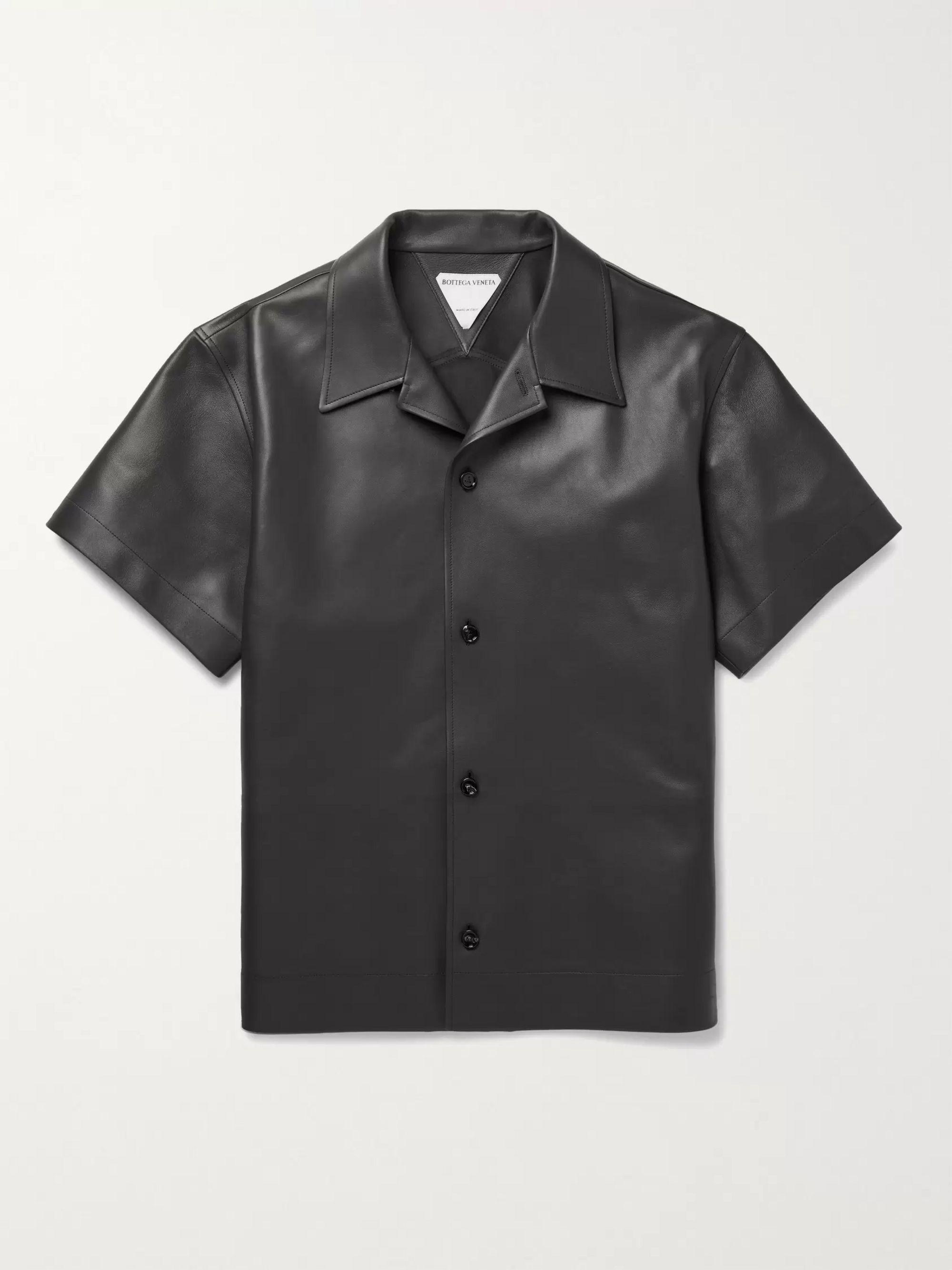 보테가 베네타 Bottega Veneta Convertible-Collar Leather Shirt,Brown