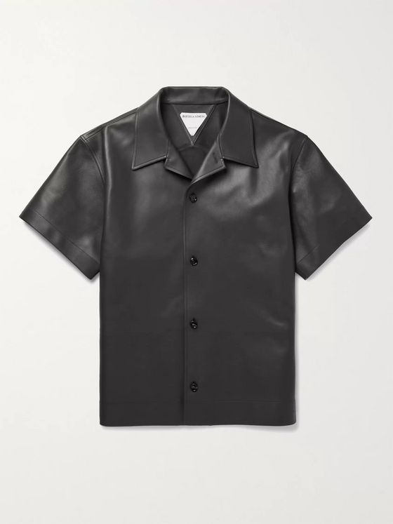BOTTEGA VENETA Convertible-Collar Leather Shirt