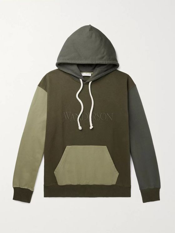 JW Anderson Logo-Embroidered Colour-Block Cotton-Jersey Hoodie
