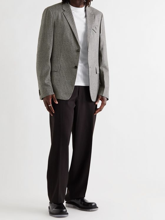 BOTTEGA VENETA Herringbone Stretch-Wool Flannel Suit Jacket