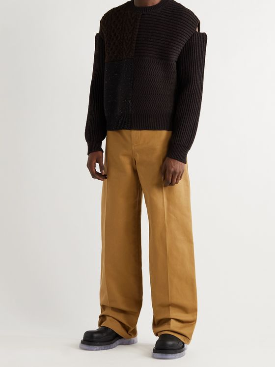 BOTTEGA VENETA Cutout Patchwork Wool Sweater
