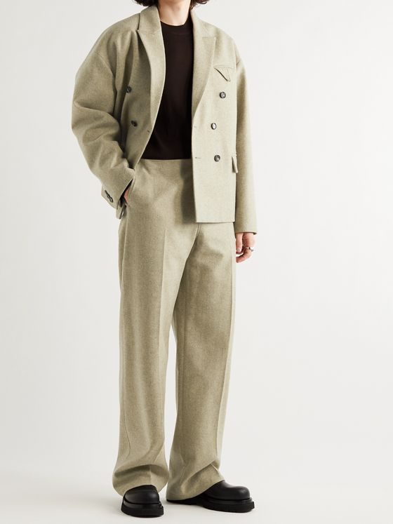BOTTEGA VENETA Wide-Leg Wool-Blend Flannel Suit Trousers