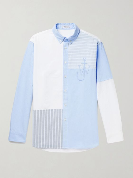 JW ANDERSON Button-Down Collar Logo-Embroidered Patchwork Cotton Oxford Shirt