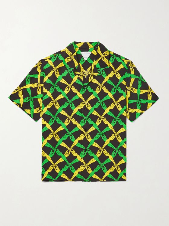 BOTTEGA VENETA Camp-Collar Printed Woven Shirt