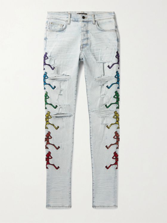 AMIRI + Grateful Dead Skinny-Fit Embroidered Distressed Stretch-Denim Jeans
