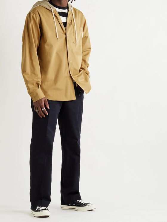 MARNI Tech-Canvas and Corduroy Hooded Shirt