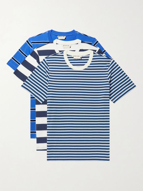 MARNI Three-Pack Striped Cotton-Jersey T-Shirts