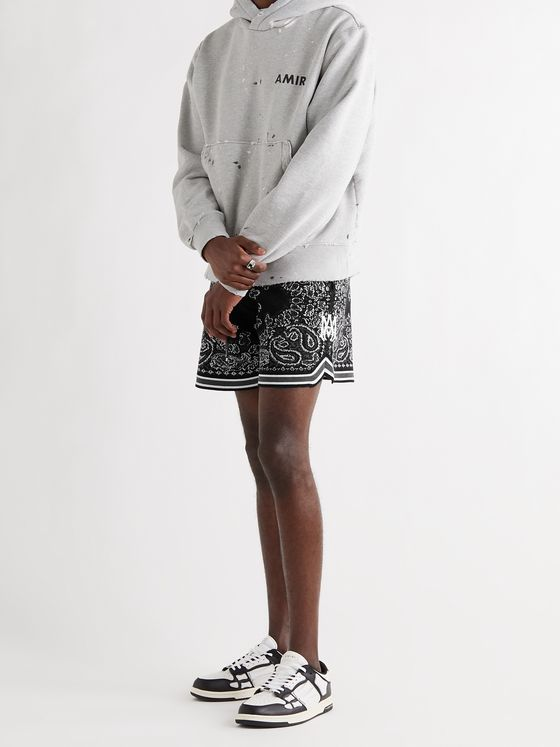 AMIRI Wide-Leg Bandana Crocheted Cotton-Blend Drawstring Shorts