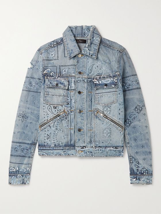AMIRI Slim-Fit Distressed Bandana-Print Denim Jacket