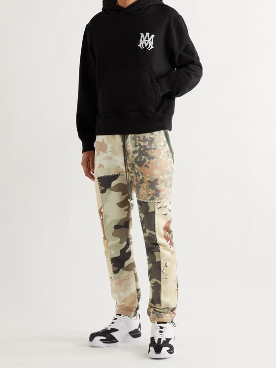 AMIRI Skinny-Fit Patchwork Camouflage-Print Cotton-Jersey Sweatpants