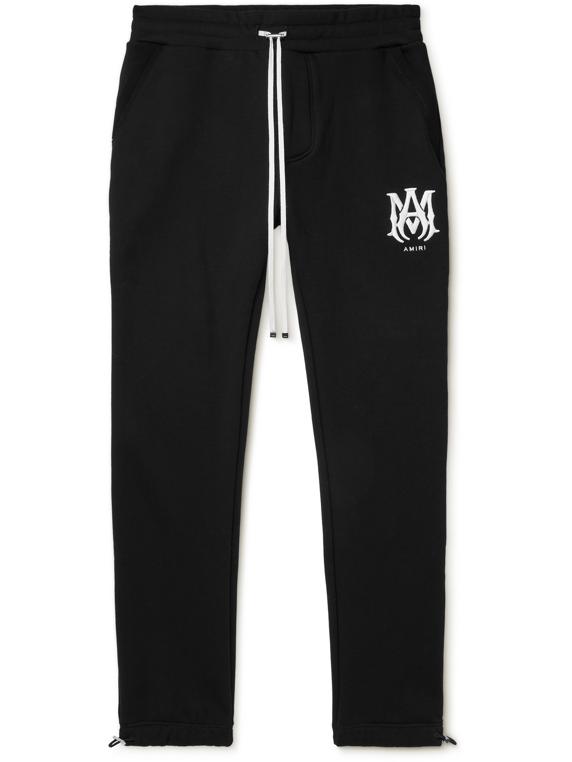 Slim-Fit Tapered Logo-Embroidered Cotton-Jersey Sweatpants