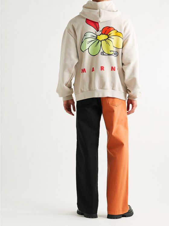 MARNI Oversized Printed Loopback Cotton-Jersey Hoodie