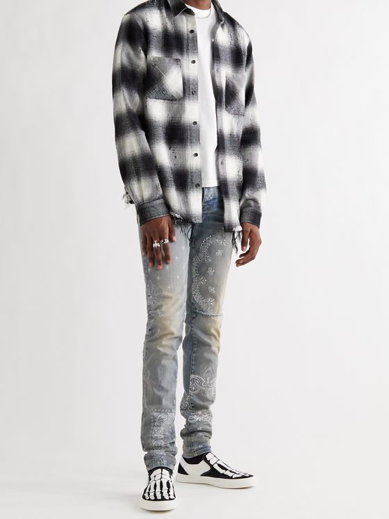 AMIRI Skinny-Fit Distressed Bandana-Print Stretch-Denim Jeans