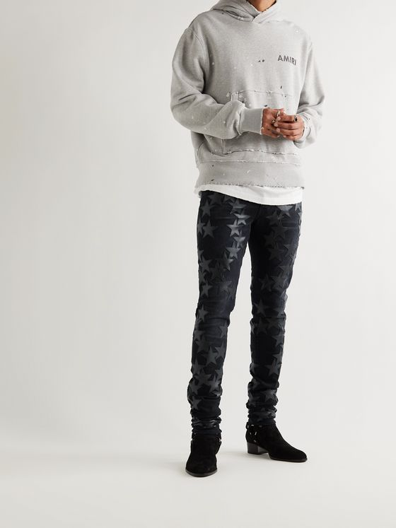 AMIRI + Chemist Slim-Fit Leather-Appliquéd Distressed Stretch-Denim Jeans