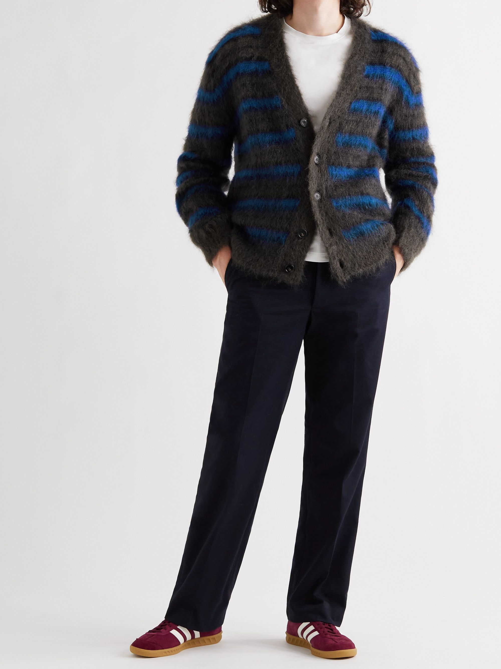 MARNI Striped Mohair-Blend Cardigan
