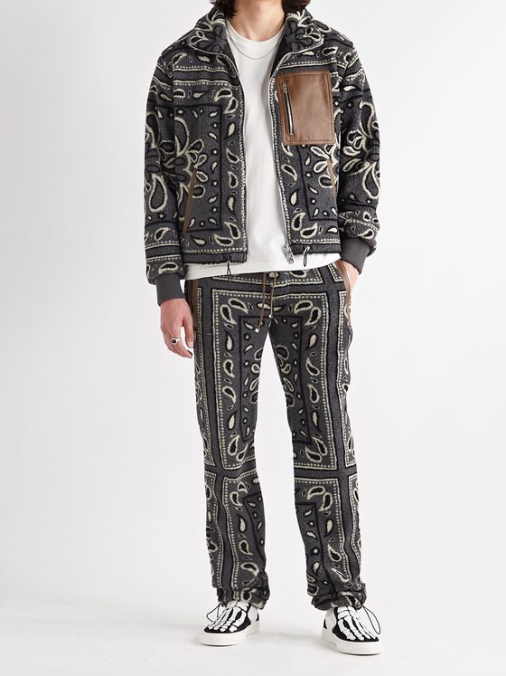 AMIRI Leather-Trimmed Bandana-Print Fleece Sweatpants