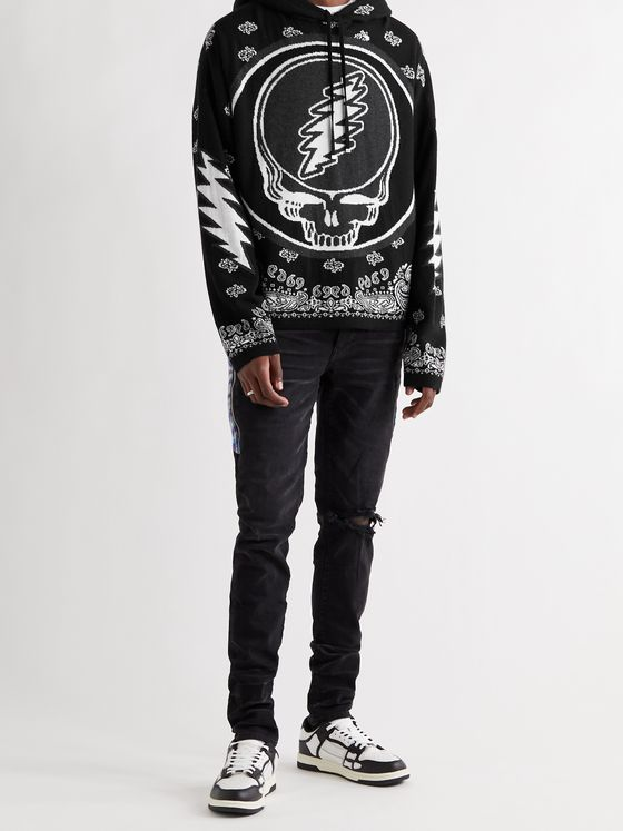 AMIRI + Grateful Dead Intarsia Cashmere and Cotton-Blend Hoodie