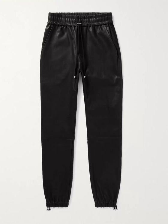 AMIRI Slim-Fit Tapered Leather Drawstring Trousers